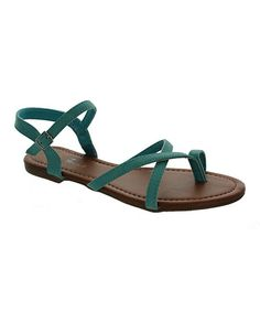 Look at this #zulilyfind! Teal Toe Strap Orlena Sandal #zulilyfinds