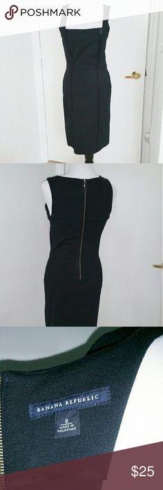 Banana Republic Black Sheath Dress Black sheath dress with striped detail. Very flattering! Banana Republic Dresses Midi