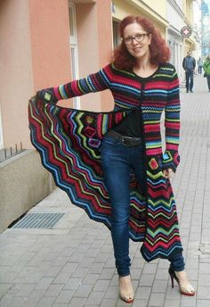 Coat Maxi Psychedelic pattern by Fashion Martina Brand new version of my design – crochet cardi Missoni Inspiration – at this time I made it in wonderful pure merino wool and in maxi long. Crochet Coat, Crochet Cardigan Pattern, Crochet Jacket, Crochet Shawl, Crochet Clothes, Crochet Sweaters, Crochet Patterns, Moda Crochet, Diy Crochet