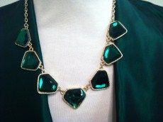 Green Rhinestone Necklace Set | Has matching earrings. | Primary View | SISTERS