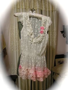Romantic Lace Blouse white lace shabby altered by Dede