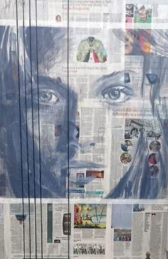 acrylic on newspaper