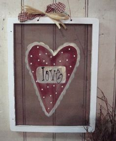 Primitive Heart Hand Painted Screen GCC02225 by GainersCreekCrafts
