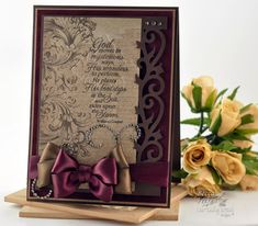 Stunning Brown & Burgundy Card...with satin bows...God Moves - January Release.