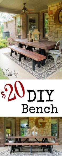 DIY: Rustic table and bench/ like the dark bottom and wood stained top
