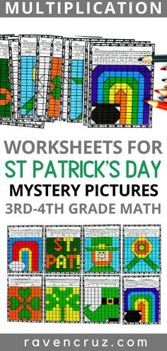 Multiplication mystery pictures are a great way for students to practice their multiplication facts. These St. Patrick's Day themed multiplication mystery pictures work great for math centers, math rotations, etc. Math Activities, Math Resources, Math Games, Maths, Math Math, Math Worksheets, Math Teacher, Educational Activities, Math Rotations