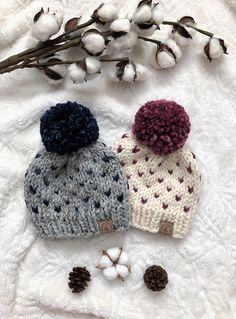 bc5fd74cd7 NEWBORN Twin Knit Hat Set/Custom Color Twin Hats/Pom Pom Baby Hats/Twin  Beanies/Hats for New Baby Tw