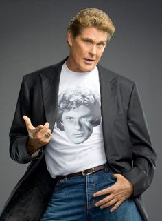 David Hasslehoff wearing a t-shirt featuring the face of David Hasslehoff