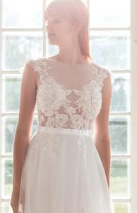 Illusion wedding dress - lace wedding dress from Batel Boutique Classic Wedding Dress, Lace Wedding, Wedding Dresses, Neckline Designs, Satin Sash, Tulle Fabric, Beaded Lace, Siena, Lace Applique