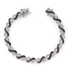 Liquidation Channel | Black Diamond and Diamond Bracelet in Platinum Overlay Sterling Silver (Nickel Free)