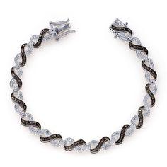 Liquidation Channel | Black Diamond and Diamond Bracelet in Platinum Overlay Sterling Silver (Nickel Free)