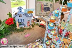 Cupcakes mesa dulce temática Surf - Surf themed Sweet table cupcakes