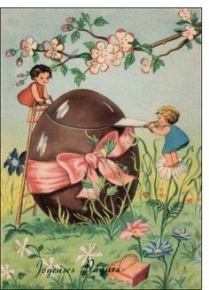 Antique Easter Postcard... A Chocolate Egg.