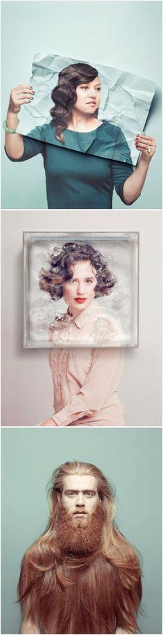 "Aisha Zeijpvelds ""Surreal Portraits"". paper, photographer, photography, layer, hold, face, concept"