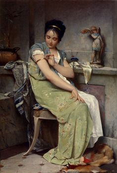 Auguste Emile Pinchart (Auguste Emile Pinchart) (1842-) The Amulet Oil on canvas 1871 38.1 x 55.9 cm (15 x 22.01)