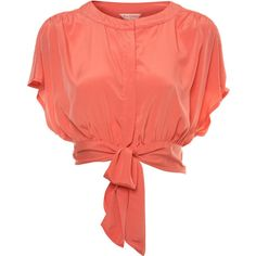 Coral Knotted Crop Top ($31) ❤ liked on Polyvore featuring tops, blouses, shirts, blusas, women's tops, knotted crop top, crop top, crop blouse, shirt blouse and red shirt