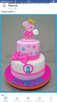Torta Fairy Birthday Cake, Peppa Pig Birthday Cake, Paw Patrol Birthday Cake, Birthday Cake Girls, Tortas Peppa Pig, Bolo Da Peppa Pig, Aniversario Peppa Pig, Little Girl Cakes, Pig Party