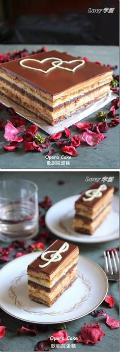 Opera cake (almond sponge cake with coffee syrup and mocha cream) Zumbo's Just Desserts, Delicious Desserts, Choco Chocolate, Chocolate Recipes, Sweet Recipes, Cake Recipes, Dessert Recipes, Zumbo Desserts, Opera Cake