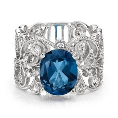 A lace-inspired London blue topaz and diamond ring in 18k white gold | Yelp