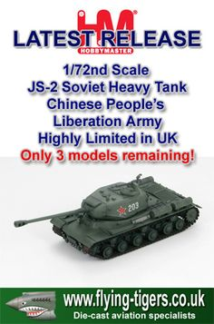 HG7002 Superb New 1/72nd Scale Soviet built JS-2 Heavy Tank 'Chinese People's Liberation Army' - Rare in the UK, with only 3 models available!