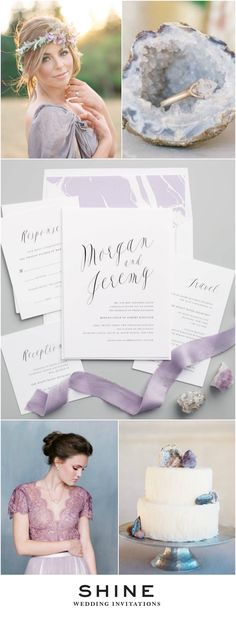 Purple Geode Wedding Inspiration | Calligraphy Wedding Invitations | Lavender Wedding Inspiration | Modern Wedding