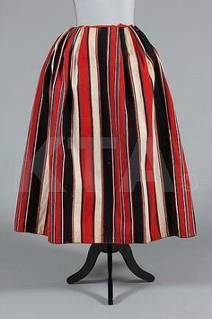 A striped homespun wool 'revolutionary' skirt, French, late century, of… 18th Century Dress, 18th Century Costume, 18th Century Clothing, 18th Century Fashion, Historical Costume, Historical Clothing, Marie Antoinette, Louis Xvi, Era Georgiana