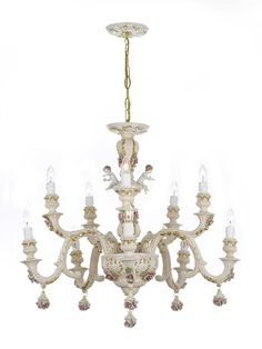 Authentic Capodimonte Porcelain Chandelier W Cherub Angels Made In Italy Good For Dining Room Kids S Bedrooms Gold Trimmed Roses