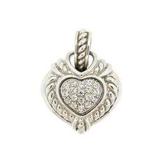 Judith Ripka Sterling Silver Cubic Zirconia Heart Pendant Enhancer