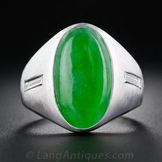 Gent's Jade Cabochon and Diamond Ring - 30-1-5045 - Lang Antiques