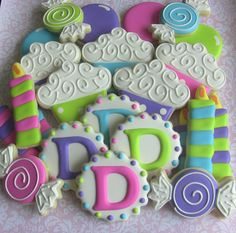 Girls First Birthday Decorated Sugar Cookies by DolceDesserts Cookies For Kids, Fancy Cookies, Cute Cookies, Cupcake Cookies, Pink Cupcakes, Sugar Cookie Royal Icing, Iced Sugar Cookies, Monogram Cookies, Cookie Bouquet