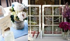 Rustic Wedding Decor Collage Birch Vase + Window Pane