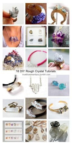 """Roundup of 18 Favorite DIY Rough Crystal Tutorials from True Blue Me & You.I love posting rough or raw crystal tutorials because most of the DIYs are easy to make and look expensive. You can find""""rough crystals"""" at toy stores (in the science section), museum shops, craft stores and online.*Links have been checked and all work… as of today. Lots of DIY blogs that posted a few years ago have just gone - along with their archives.  DIY Spiky Crystal Ring Inspired by Pamela Love from Transient…"""