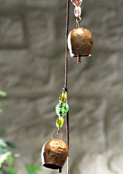 Windchime Beaded Recycled Iron Cowbell Wind Chime MD103-Fair trade gift Namaste Folio Gothic Hippy