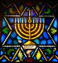 stained glass window from a jewish synagogue