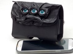 Black Leather Cell Phone Case With Eyes Face Goth