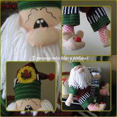 Noel y sus pantuflas Gingerbread, Santa, Christmas, Crafts, Ideas Para, Christmas Decor, Baby Dolls, Ideas, Bag