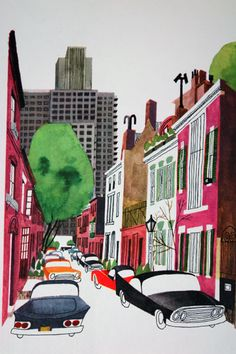 "illustration from Miroslav Sasek's vintage children's book, ""This is... New York"" showing a view of a city street lined with cars"