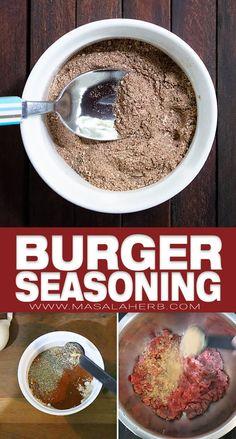 Best ever burger seasoning to enhance your burger patties on the grill or in the pan! Best Burger Seasoning, Meat Seasoning, Hamburger Seasoning Recipes, Grilled Hamburger Recipes, Rub Recipes, Beef Recipes, Cooking Recipes, Homemade Spices, Homemade Seasonings