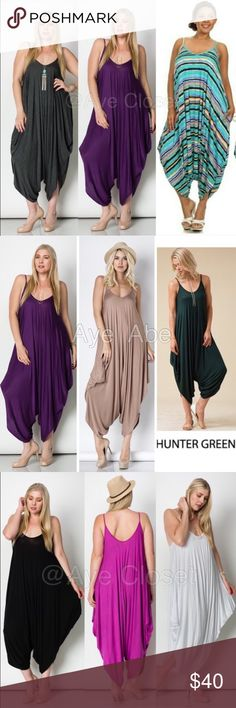 Plus size Romper harem palazzo pants jumpsuit Boho price is firm unless bundled✍Retail, Brand new without tags. Fabric Content : rayon + spandex  Trendy plus size Boho chic jumpsuit, palazzo harem pant dress ‼️3 colors to choose from‼️black, royal blue, gray‼ Oversized Loose fit drape harem Romper jumpsuit super comfy and breathable fabric... Boutique Pants Jumpsuits & Rompers