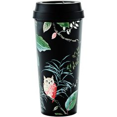 kate spade new york Thermal Mug - Birch Way ($21) ❤ liked on Polyvore featuring home, kitchen & dining, drinkware, black, kate spade thermal mug and kate spade