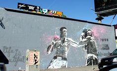 Mr. Brainwash mural of Ali and Fraizer over on Melrose near Fairfax High School