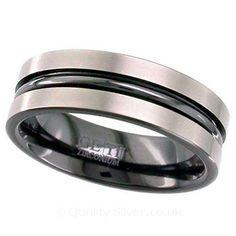 Geti Black Grooved Zirconium Ring