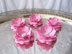 Handmade Paper Flowers 5 Pink Roses by carrieklein on Etsy cute for wedding escort cards.