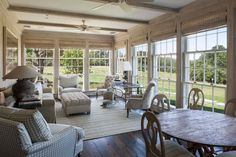 A garden room enjoys a panoramic view of the meadow.
