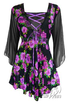 Dare To Wear Victorian Gothic Women's Plus Size Bewitched Corset Top Purple Rose Gothic Tops, Fairy Clothes, Fashion Outfits, Womens Fashion, Fasion, Purple Rose, Plus Size Fashion, Plus Size Women, Long Sleeve Tops