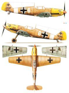Messerschmitt Bf 109E7Trop 1.JG27 White 6 El Gazala Libya 1941.Kagero top colors