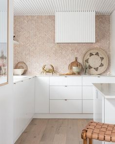 Beautiful natural tumbled blush pink marble herringbone tile splashback, smartstone benchtops, brass tapware and door pulls… Black Marble Bathroom, Marble Bathroom Accessories, Pink Marble, Kitchen Interior, Kitchen Decor, Kitchen Centerpiece, Centerpiece Ideas, Depot Design, Layout Design