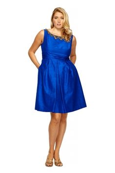 Flared Jewel Cocktail Dress from KAY UNGER $277.50 (save $102.50)