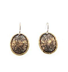 David Tishbi Gold Frame Oval Falling Leaf Earrings - Gold Frame oval Falling Leaf Earrings