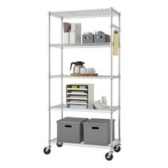 Trinity EcoStorage NSF Wire Shelving Rack with Wheels, 36 by 18 by Chrome Wire Shelving Units, Shelving Racks, Wire Shelves, Small Woodworking Shop Ideas, Garage Storage Solutions, Standing Shelves, Diy Home Accessories, Chrome Colour, Thing 1
